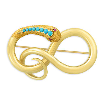 18K Yellow Gold Turquoise Snake Brooch