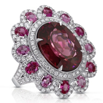 18K_White_Gold_Oval_Rhodolite_Garnet,_Pink_Sapphire_and_Diamond_Ring