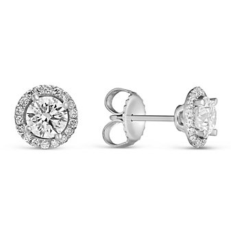18K White Gold Forevermark Diamond Halo Stud Earrings