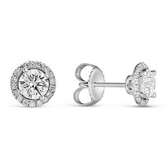 18K White Gold Forevermark Diamond Halo Stud Earrings