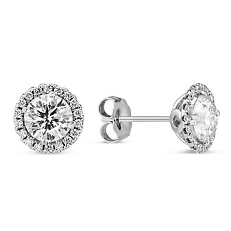 18K White Gold Borsheims Signature Round Diamond Halo Earrings