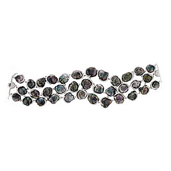 tara 18k white gold black tahitian south sea keshi pearl & diamond 3 row bracelet