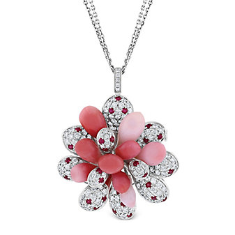 """tara pearls 18k white gold diamond, conch pearl and ruby pendant with double strand chain, 18"""""""