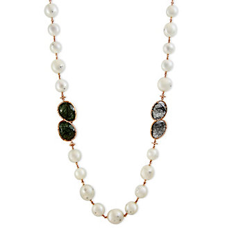 Tara Pearls 18K White Gold South Sea Cultured Pearl, Brown Diamond & Quartz Necklace, 36""