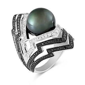 Stephen Webster 18K White Gold Tahitian Cultured Pearl and Diamond Lady Stardust Ring