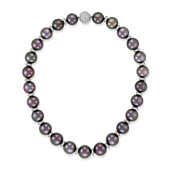 Tara Pearls Platinum & 18K White Gold Tahitian Cultured Pearl Strand With Diamond Rondelles