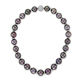 Tara Pearls Platinum & 18K White Gold Tahitian Cultured Pearl Strand With Diamond Rondelles