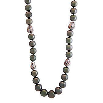 Tara Pearls 18K White Gold Tahitian Cultured Pearl & Multicolor Sapphire Necklace