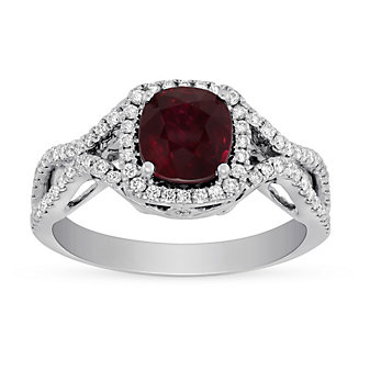18K White Gold Cushion Mozambique Ruby & Pave Diamond Halo Ring