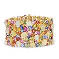 "18k_yellow_gold_multicolor_sapphire,_opal_&_diamond_bracelet,_7.25"""