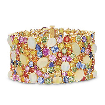 18k yellow gold multicolor sapphire, opal & diamond bracelet, 7.25""