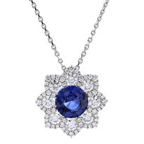 "18k_white_gold_round_sapphire_&_diamond_flower_pendant,_17"""