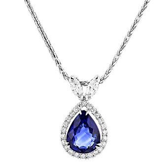 "tara 18k white gold pear shaped sapphire & diamond halo pendant, 18"""
