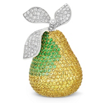 18K_Yellow_&_White_Gold_Yellow_Sapphire,_Diamond_&_Tsavorite_Pear_Brooch