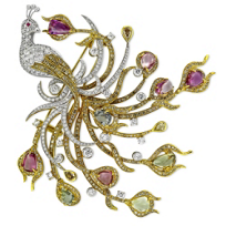 18K_Yellow_&_White_Gold_Diamond,_Ruby_and_Multicolor_Sapphire_Peacock_Pin