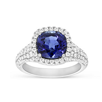 18K White Gold Cushion Sapphire and Round Diamond Halo Ring