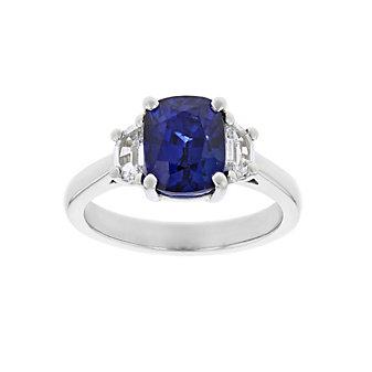 platinum cushion sapphire & half moon diamond ring
