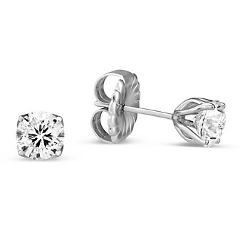 14K White Gold Round Signature Diamond Stud Earrings, 1.03 CTTW