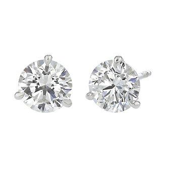18k white gold kalahari dream diamond stud earrings, 3.02cttw