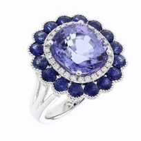 18K_White_Gold_Cushion_Tanzanite_Ring_with_Sapphire_and_Diamond_Flower_Halo