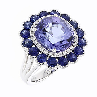 18K White Gold Cushion Tanzanite Ring with Sapphire and Diamond Flower Halo