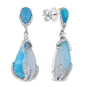 18k white gold pear shaped cabochon paraiba, white tourmaline & diamond drop earrings