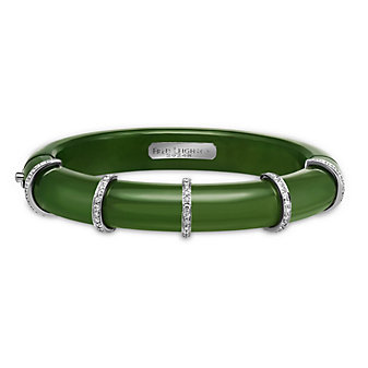 Fred Leighton Prism Green Nephrite Diamond Collar Bangle