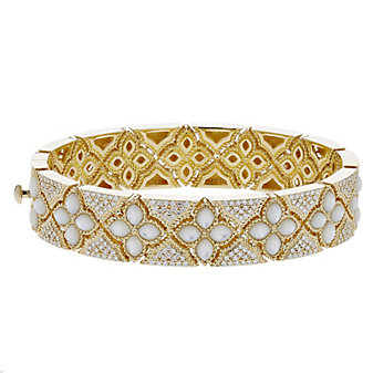 roberto coin 18k yellow gold diamond & white mother of pearl venetian princess bangle bracelet