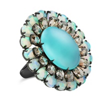 18K_White_Gold_Chrysocolla,_Opal_and_Diamond_Ring