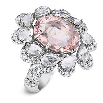 18k white gold oval checkerboard morganite & diamond petal halo ring