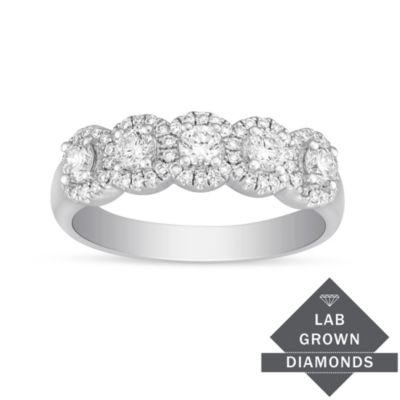 14K White Gold Lab Grown Diamond Halo Band, 0.70cttw