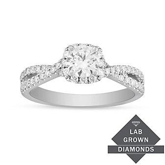 14K White Gold Lab Grown Diamond Halo Twist Engagement Ring