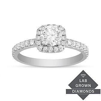 14K White Gold Lab Grown Pave Set Diamond Halo Engagement Ring