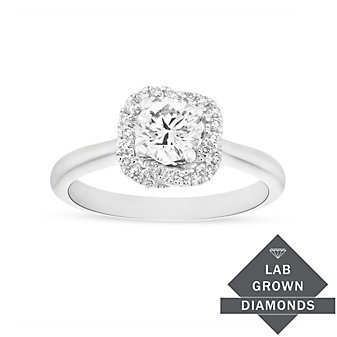 14K White Gold Lab Grown Diamond Twisted Halo Ring