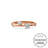 Diama_18K_Rose_Gold_Intimate_Swarovski_Created_Diamond_Two_Stone_Ring,_0.30cttw