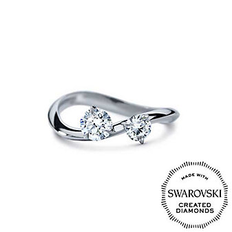 Diama 18K White Gold Intimate Swarovski Created Diamond Ring, 0.72cttw