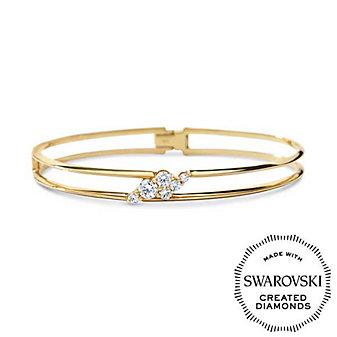 Diama 18K Yellow Gold Glacial Swarovski Created Diamond Bangle Bracelet