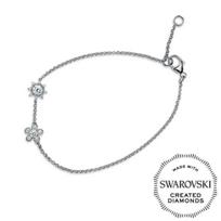 "Diama_18K_White_Gold_Bloom_Swarovski_Created_Diamond_Bracelet,_7"""