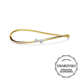 Diama 18K Yellow Gold Intimate Swarovski Created Diamond Bangle Bracelet