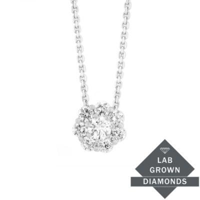 14K White Gold Lab Grown Diamond Cluster Pendant, 0.55cttw