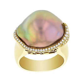 tara 18k yellow gold pastel freshwater baroque cultured pearl & round diamond ring