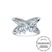 "Diama_18K_White_Gold_Encounter_Swarovski_Created_Diamond_Cluster_""X""_Ring"
