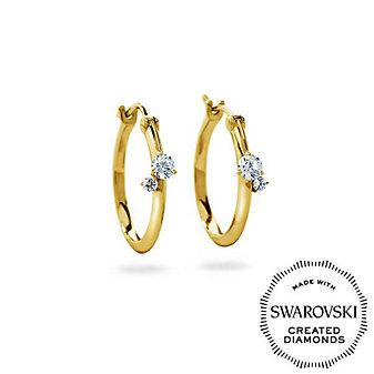 Diama 18K Yellow Gold Intimate Swarovski Created Diamond Hoop Earrings