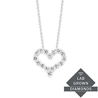 14K White Gold Lab Grown Diamond Heart Pendant, 0.46cttw