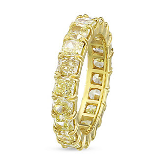 18K Yellow Gold Fancy Yellow Cushion Diamond Eternity Band