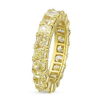 18K Yellow Gold Fancy Yellow Cushion Diamond Eternity Band