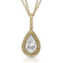 J.B._Star_Platinum_&_18K_Yellow_Gold_Pear_Shape_Diamond_and_Yellow_Diamond_Pendant