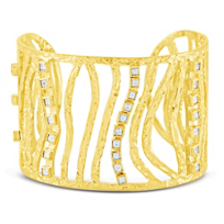 Rahaminov_18K_Yellow_Gold_Square_Step_Cut_Diamond_Wave_Bracelet