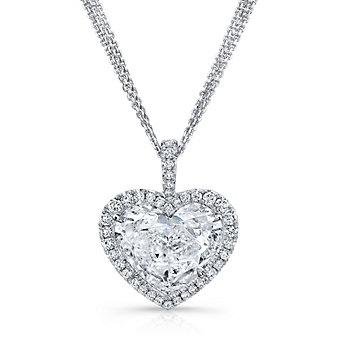 18K White Gold Heart Shaped Diamond and Round Diamond Halo Pendant