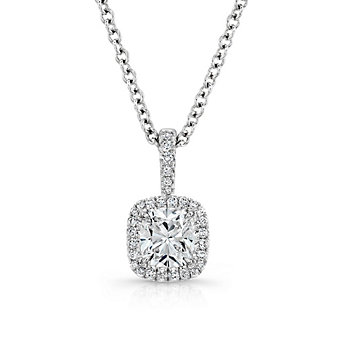 18K White Gold Forevermark Cushion and Round Diamond Halo Pendant, 18""